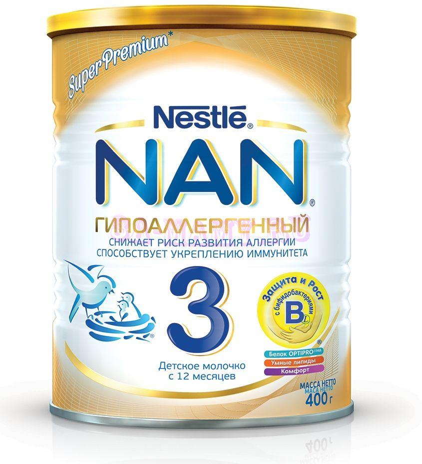 Молочко детское с 12 мес молочная nan 3 кисломолочный с бифидобактериями (400 г)