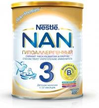 НАН 3 Гипоаллергенный Детское гипоаллергенное молочко , с  12 месяцев, 400 г