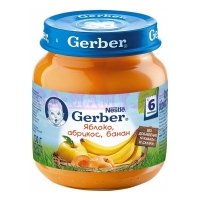 Gerber Пюре яблоко, абрикос, банан с 6 месяцев 130 мл
