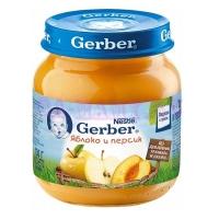 Gerber Пюре яблоко, персик 6 месяцев 130 мл