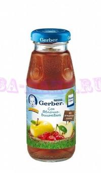 Gerber Сок яблоко, вишня без сахара с 5 месяцев, 175г.